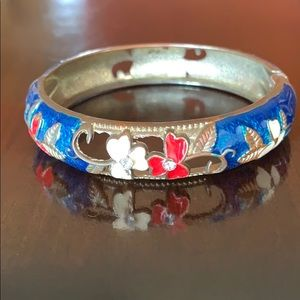 Vintage Silver Blue Flower Cut Out Bangle Bracelet